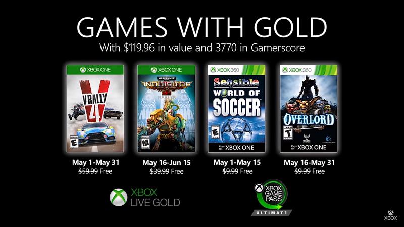 Anunciados los Games with Gold de mayo de 2020