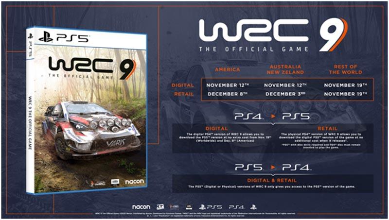 WRC 9 disponible el mismo día de lanzamiento de PS5