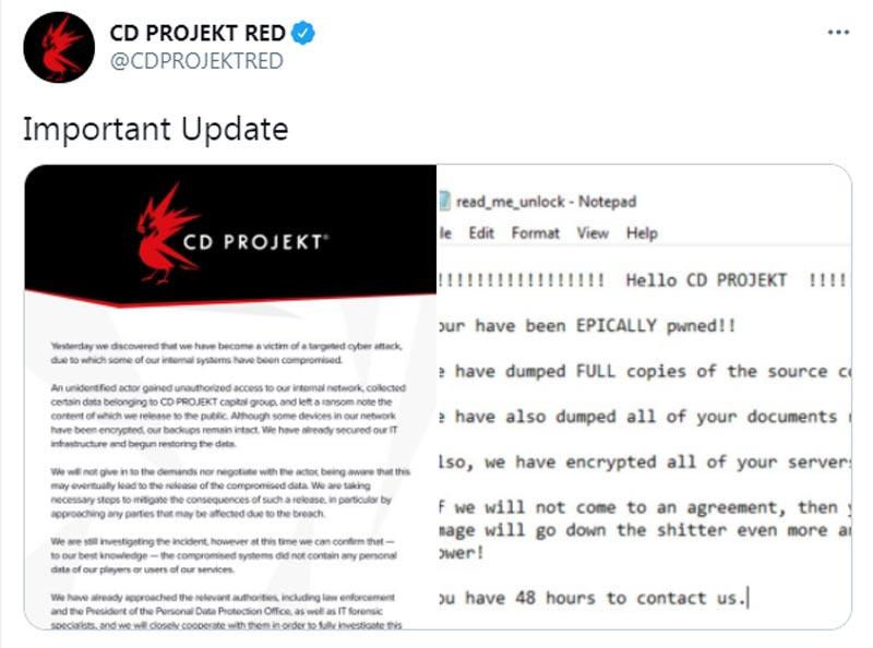Roban el código fuente de los juegos de CD PROJEKT